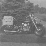 1947 Harley motorcycle, California or Bust