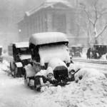 old car under snow