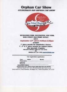 Studebaker & Orphan Car Show flyer